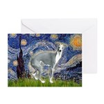 Starry Night/Italian Greyhoun Greeting Cards (Pk o