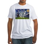 Starry Night/Italian Greyhoun Fitted T-Shirt