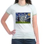 Starry Night/Italian Greyhoun Jr. Ringer T-Shirt