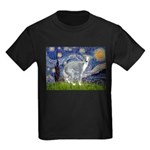 Starry Night/Italian Greyhoun Kids Dark T-Shirt