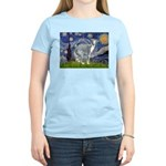 Starry Night/Italian Greyhoun Women's Light T-Shir