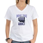 Muay Thai Addict Women's V-Neck T-Shirt