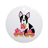 Boston Terrier with Cupcakes Ornament (Round)