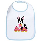 Boston Terrier with Cupcakes Bib
