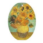 Van Gogh's Sunflower Oval Ornament
