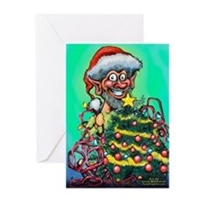 Elf w Tree Card Greeting Cards