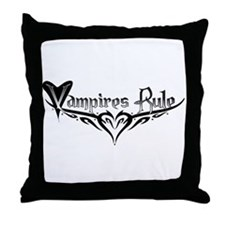 Vampires Rule B&W Mystic Throw Pillow