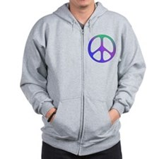 Classic Rainbow Peace Sign Zip Hoody