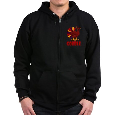 Thanksgiving Turkey Gobble Zip Hoodie (dark)