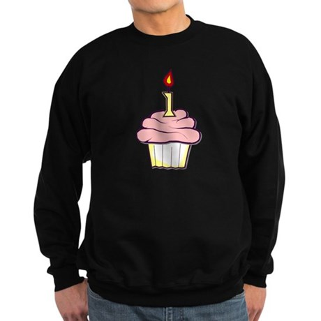 1st Birthday Cupcake (girl) Sweatshirt (dark)