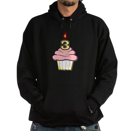 3rd Birthday Cupcake (girl) Hoodie (dark)