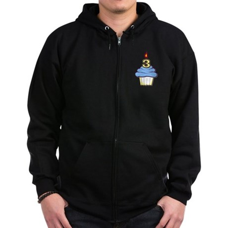 3rd Birthday Cupcake (boy) Zip Hoodie (dark)