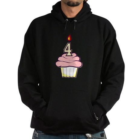 Girl Cupcake 4th Birthday Hoodie (dark)