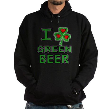 I Shamrock Heart Green Beer Hoodie (dark)