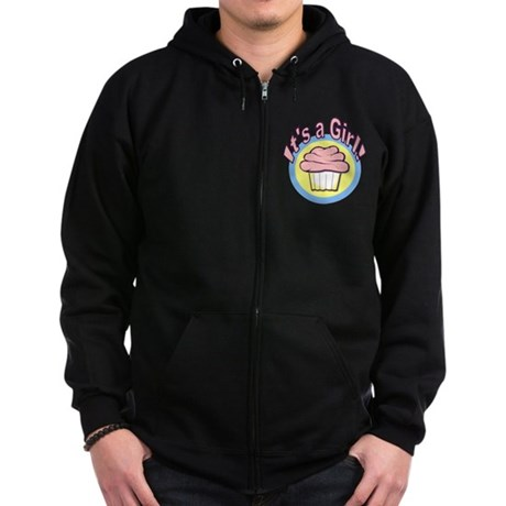 It's a Girl Cupcake Zip Hoodie (dark)