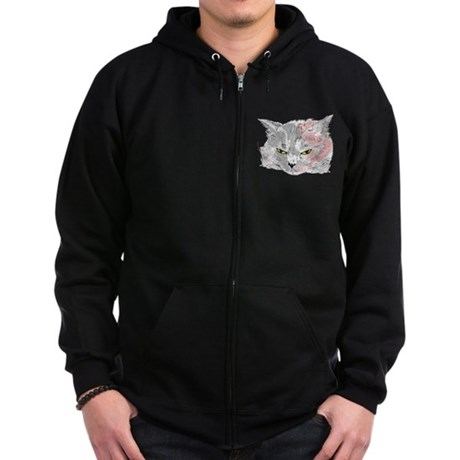 Pop Art Cat Zip Hoodie (dark)