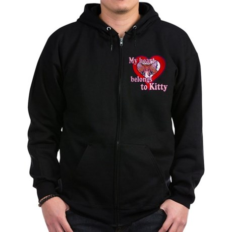 My heart belongs to kitty Zip Hoodie (dark)