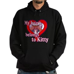 My heart belongs to kitty Hoodie (dark)