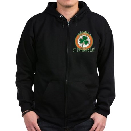 Happy St Patricks Day Shamroc Zip Hoodie (dark)