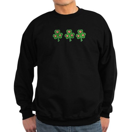 Three Shamrocks Pink Heart Sweatshirt (dark)