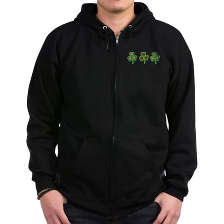 Shamrocks (pink and red heart Zip Hoodie (dark)