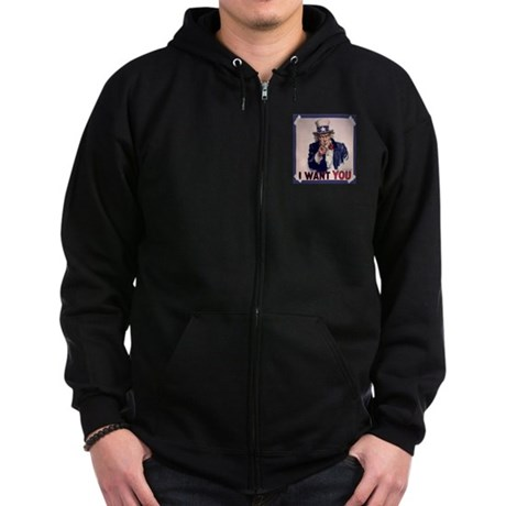 Uncle Sam Poster Zip Hoodie (dark)