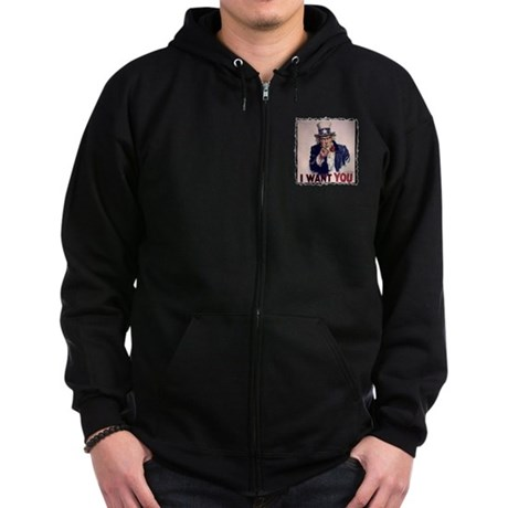 Uncle Sam t-shirt Zip Hoodie (dark)