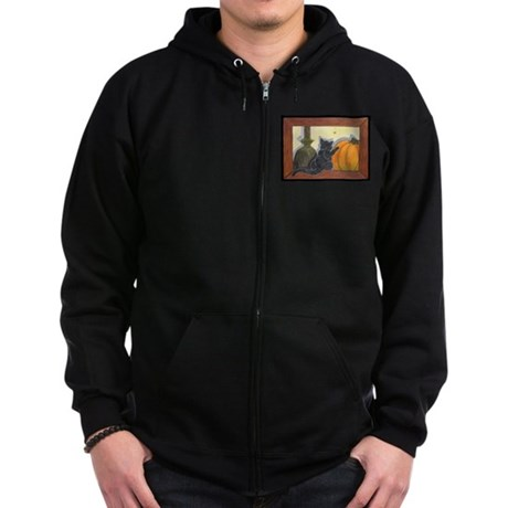 Halloween Cat - Just the Art, Zip Hoodie (dark)