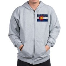 Colorado retro wash flag Zip Hoodie