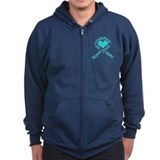 Teal Ribbon of Words Zip Hoody
