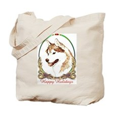 Red Siberian Husky Holiday Tote Bag