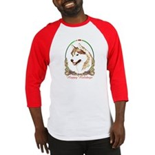 Red Siberian Husky Holiday Baseball Jersey