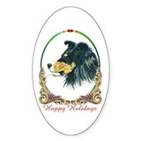 Tri Shetland Sheepdog Holiday Oval Decal