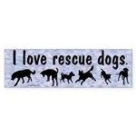 I Love Rescue Dogs (Blue) Bumper Sticker (10 pk)