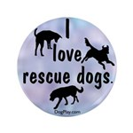 "I Love Rescue Dogs (Blue) 3.5"" Button"