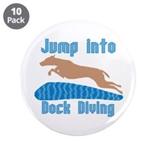"Jump Into Diving Dogs 3.5"" Button (10 pack)"