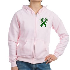 Donor Heart Ribbon Women's Zip Hoodie