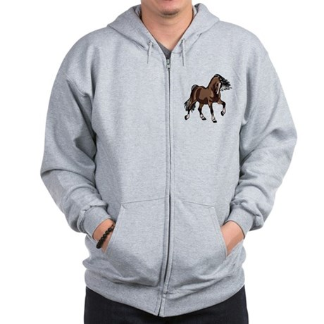 Spirited Horse Dark Brown Zip Hoodie