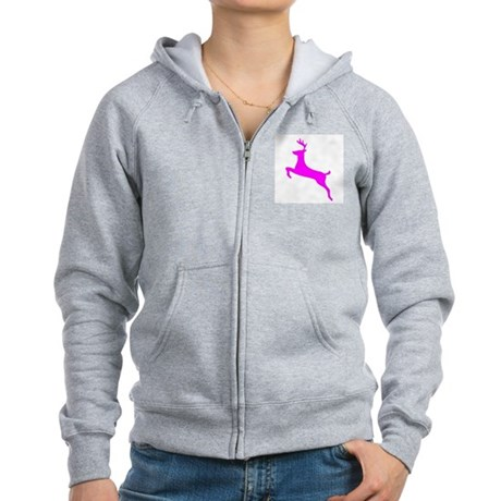 Hot Pink Leaping Deer Women's Zip Hoodie