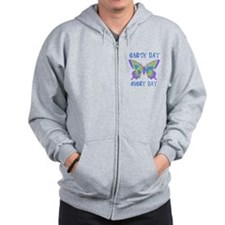 Earth Day Every Day Butterfly Zip Hoodie