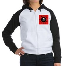 Red Pirate- Jolly Roger Women's Raglan Hoodie