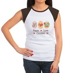 Peace Love Crochet Women's Cap Sleeve T-Shirt