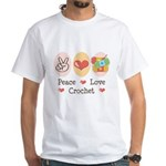 Peace Love Crochet White T-Shirt