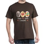 Peace Love Crochet Dark T-Shirt