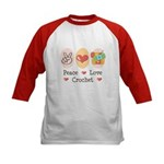 Peace Love Crochet Kids Baseball Jersey