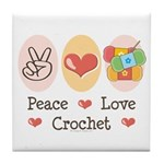 Peace Love Crochet Tile Coaster