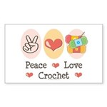 Peace Love Crochet Rectangle Sticker
