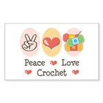 Peace Love Crochet Rectangle Sticker 50 pk)