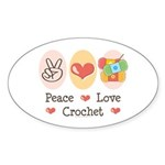 Peace Love Crochet Oval Sticker (10 pk)