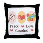Peace Love Crochet Throw Pillow